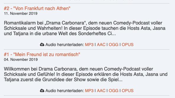 episoden comedy podcast drama carbonara